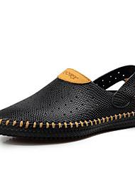 Sandales homme ressort confort trous chaussures semelles légères cuir décontracté