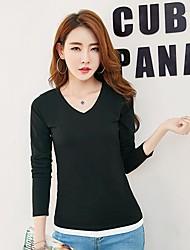 Damen Solide Sexy Klub T-shirt,Rundhalsausschnitt Langarm Baumwolle