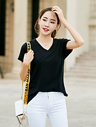 Damen Solide Einfach Ausgehen T-shirt,V-Ausschnitt Kurzarm Baumwolle Dünn