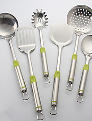 6Pcs/Set   Cooking Utensil Sets Green Handle Stainless Steel Metal Kitchen Tools Cookware Multifunction Accessories For Camping