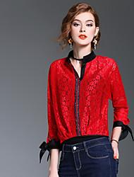Camicia Da donna Per uscire Casual Romantico Primavera Estate,Tinta unita Monocolore A V Poliestere Manica lunga Medio spessore