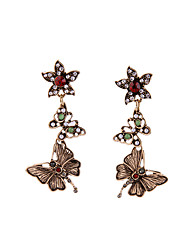 Stud Earrings Crystal Euramerican Personalized Chrome Butterfly Bronze Jewelry For Housewarming Thank You Business 1 pair