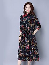 Damen A-Linie Kleid-Ausgehen Solide Rundhalsausschnitt Maxi Langarm Seide Alle Saisons Hohe Hüfthöhe Mikro-elastisch Mittel