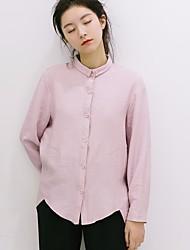 Women's Casual/Daily Simple Shirt,Solid Shirt Collar Long Sleeve Cotton Bamboo Fiber