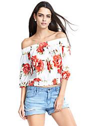 Damen Blumen Retro Lässig/Alltäglich T-shirt,Bateau Sommer ¾-Arm Blau / Rot / Grün Polyester Mittel