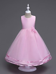 Ball Gown Floor-length Flower Girl Dress - Cotton Tulle Satin Chiffon Scoop with Bow(s) Draping Flower(s)