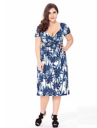 Women's Plus Size Going out Beach Loose Dress,Print Deep V Knee-length Short Sleeve Polyester Summer High Rise Micro-elastic Thin