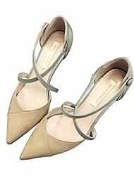 Damen-Sandalen-Lässig-PU-Blockabsatz-Fersenriemen-