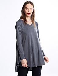Damen Solide Einfach / Street Schick Ausgehen / Lässig/Alltäglich T-shirt,V-Ausschnitt Frühling / Herbst Langarm Blau / Schwarz / Grau