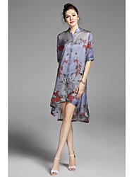 Mujer Corte Ancho Vestido Casual/Diario Tejido Oriental,Bordado Escote Chino Sobre la rodilla 1/2 Manga Seda Primavera Verano Tiro Medio