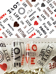 1pcs Hot Fashion Nail Art 3D Stickers Cute Love Heart Lovely Design Personality English Alphabet Decoration For Nail DIY Beauty F124