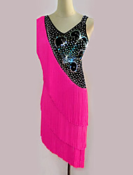 Latin Dance Dresses Women's Performance Spandex Tassel Crystals/Rhinestones 1 Piece Sleeveless High