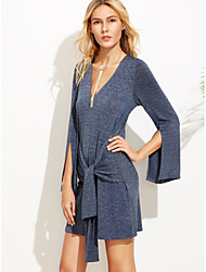 Women's Going out Simple Loose Dress,Solid Deep V Above Knee Long Sleeve Polyester Summer Mid Rise Micro-elastic Thin