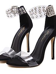 Damen-Sandalen-Kleid-Gummi-Stöckelabsatz-Transparente Schuh-