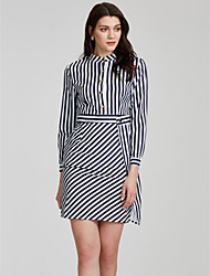 Women's Fine Stripe Work Simple Sheath Dress,Striped Stand Above Knee Long Sleeve White Polyester Fall / Winter Mid Rise Micro-elastic Medium