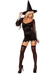 Costumes de Cosplay Sorcier/Sorcière Fête / Célébration Déguisement d'Halloween Autres Robe Résille Chapeau Halloween FémininElasthanne
