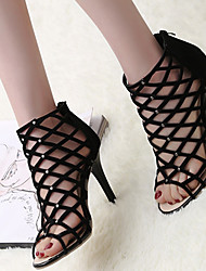 Women's Sandals Spring Summer Club Shoes Comfort Suede Party & Evening Dress Casual Stiletto Heel Beading Zipper
