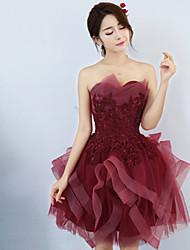 Princesse sweetheart courte / mini tulle robe de demoiselle d'honneur avec bandage