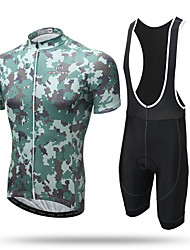 XINTOWN® Quick Dry Breathable Cycling Jersey Short Mountain Bike Road Bike MTB BMX Racing Outdoor Cycling Jersey With Bib Shorts Jungle Camo