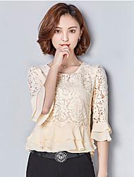 Damen Solide Stickerei Einfach Lässig/Alltäglich T-shirt,Rundhalsausschnitt Polyester