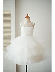 Vestido de princesa do joelho vestido de florista - Vestido de cetim com pérolas sem molho de cetim com applique