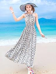 Damen Swing Kleid-Strand Blumen Rundhalsausschnitt Maxi Kurzarm Seide Sommer Mittlere Hüfthöhe Mikro-elastisch Dünn
