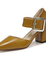 Women's Sandals Comfort PU Summer Casual Walking Comfort Buckle Low Heel Black Beige Yellow 3in-3 3/4in