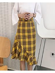 Femme Taille Haute Midi Jupes,Trompette/Sirène Damier