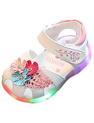 Girls' Sandals Comfort Light Up Shoes PU Spring Summer Casual Comfort Light Up Shoes Flower Hook & Loop LED Flat Heel White Blushing Pink