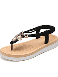 Women's Sandals Spring Summer T-Strap Comfort Leatherette Casual Flat Heel Beading Walking