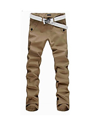4colors 29-36 Hot Sale Men's Mid Rise strenchy Chinos PantsSimple Slim Solid
