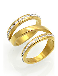 Unique Rock Punk Style 316L Stainless Steel CZ Arrow Female Ring Gold 3 Color Ring For Women