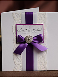 50 Elegant White Lace Wedding Invitations Card Kit With Purple Ribbon Bow & Buckle Free RSVP & Envelope Birthday Party Invitations Card NK357