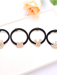South Korea Headdress Rhinestones Rhododendron Flower Rubber Band Hair Ring Headband Droop 10pcs