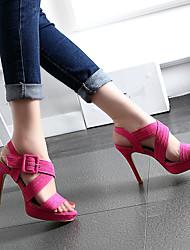 Damen-High Heels-Lässig-Vlies-Stöckelabsatz-Fersenriemen-Fuchsia Hautfarben