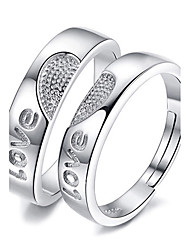 Couple Rings Jewelry Love Platinum Plated Heart Jewelry For Wedding Party Special Occasion 1 pair