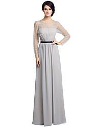 Gaine / colonne mère de la robe de mariée robe moulante à manches longues longueur au sol avec perles