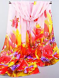 Womens Fashion Chiffon Plant Flowers Fuchsia/Pink/Light Blue/White Floral Print Scarfs 155*50CM