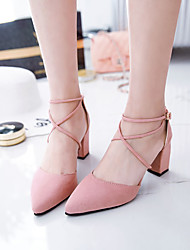 Women's Heels Spring Fall Club Shoes Gladiator Cross Pump Fashion All Match Comfort Suede Party & Evening Dress Chunky Heel Lace-up