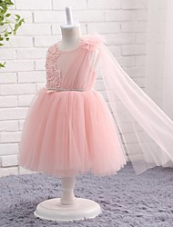 Ball Gown Knee-length Flower Girl Dress - Tulle Jewel with Appliques Sash / Ribbon