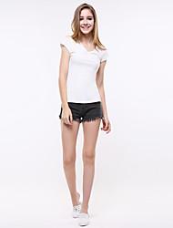 Women's Summer V Neck Short Sleeve T Shirt Long Pullovers