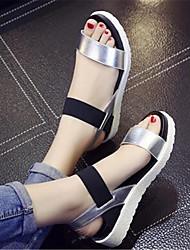 Damen-Sandalen-Lässig-PUKomfort-Weiß Schwarz Silber