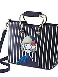 Новый стиль пакет полосой печати черный женский ручной мешок