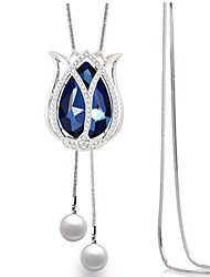 Women's Pendant Necklaces Rhinestone Tulip Flower Alloy Euramerican Fashion Silver Jewelry For Party 1pc