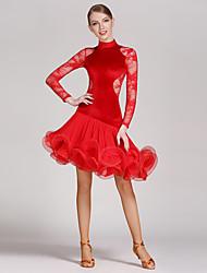 Danse latine Robes Femme Spectacle Dentelle Velours Ruché Fantaisie 1 Pièce Manche longue Taille moyenne Robe