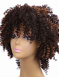 Mujer Pelucas sintéticas Sin Tapa Medio Rizado Afro Marrón Peluca afroamericana Para mujeres de color Pelo reflectante/balayage Peluca