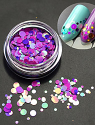 1bottle fashion romantique décoration ongle art rond tranche glitter paillette tranche design laser coloré p14