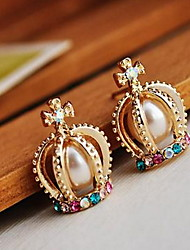 Euramerican Decoration The French Palace Noble Pearl Crown Cross Rhinestone Pearl  Stud Earrings Lady Party Earrings Movie Jewelry