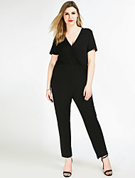 Really Love Women's High Rise Work Party Going out Casual/Daily Holiday Jumpsuits,Sexy Simple Cute Straight Slim Pure Color Sexy Holiday Fashion Solid