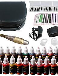Solong tattoo kit permanente di trucco kit tatuaggio penna sopracciglia labbro set 23 inchiostri trucco ek708-4